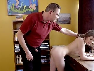 Adorable Unexperienced Alex Blake Gets Arched Over The Table And Fucked From Behind