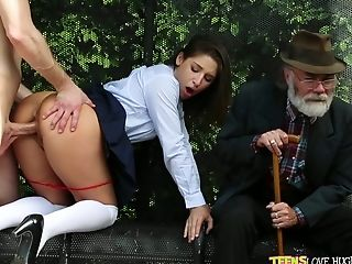Spoiled School Chick Abella Danger Is Fucked Right At The Bus Stop