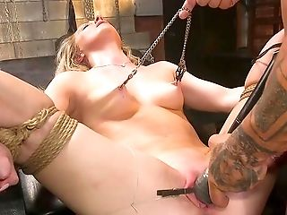 Spouse Manhandles His Tied Up Wifey Kate Kennedy In Sadism & Masochism Session
