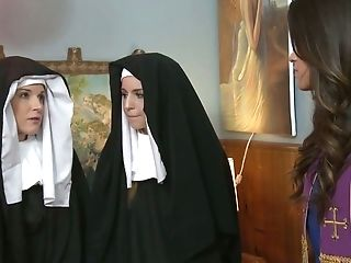 Sinful Nuns Get Nasty And Love Having First-ever Sultry Girly-girl Orgy