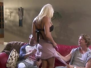 Big-titted Blonde Bombshell Lauren Cain In High High-heeled Slippers Pounded By Two Guys