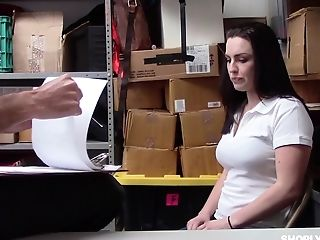 Tattooed Raven Reign Has To Fuck With A Security Dude In The Office