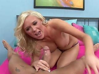 Spunky Blonde With Big Tits Pleasing A Big Man Rod
