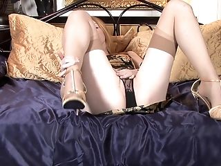 Flick Of Solo Matures Red-haired Nicole Hart Having Some Joy On The Sofa