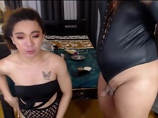 Two Supah Hot First-timer Shemale Lesbos In Sexy Undergarments And Clothing Wanking Lollipops