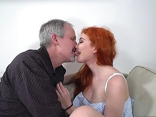 Ginger-haired Gisha Forza Gets Her Diminutive Cunt Pounded On The Couch