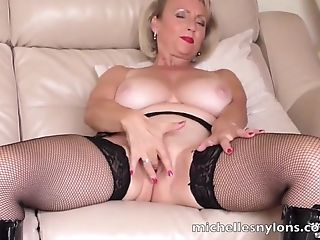Nasty Cougar Michelle Eventually Gets To Finger Her Humid Labia