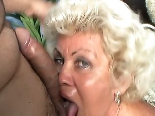 Just Repugnant Puckered Old Whore In Stockings Deepthroats A Dick For Jizm